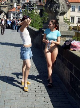 Sexy girls nudists on european streets..